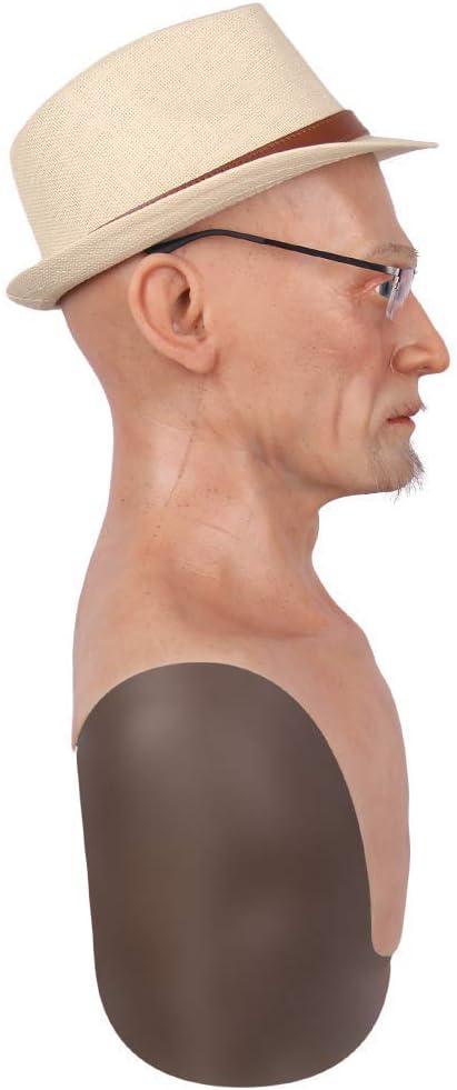 FANXIAO Realista Viejo Hombre Máscara, Máscara De Halloween ...