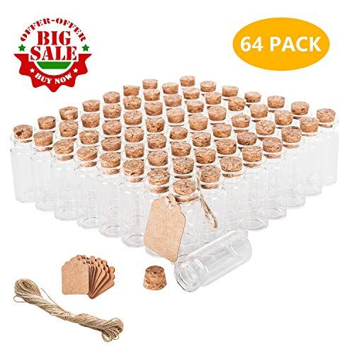 Brajttt 64PCS Cork Stoppers Glass Bottles, DIY Decoration Tiny Glass Jars Favors,Mini Vials Cork,10ml Storage Container for Art Crafts,Small Glass Jars for Wedding Party Supplies -
