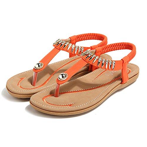 Socofy Damen Sandalen, Flip Flops Böhmische Sommer Sandals Flach Zehentrenner Stil T-Strap Offene Schuhe Strand Schuhe (Hersteller-Größentabelle IM Bild Beachten) Orange