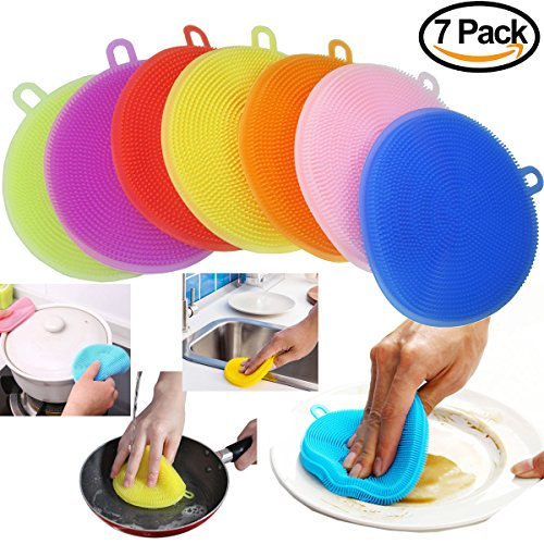 Pink Round Bowl Vegetable (Food-Grade Silicone Sponge Dish Scrubber-AUSAYE 7 Pack Antibacterial Soft Magic Dish Sponge Mildew-Free Dishwashing Better Sponges - Dishwasher Safe Dish Brush -Smart Kitchen Scrubber Hot Pad Coaster)