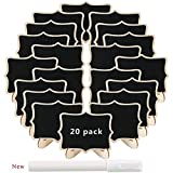 20pcs Mini Chalkboard Small Blackboard with Stands Number Message Board Signs Card Label for Kids Craft Party Wedding Table Kitchen Shop Home Office(3.74x2.95 in) Free Liquid Chalk