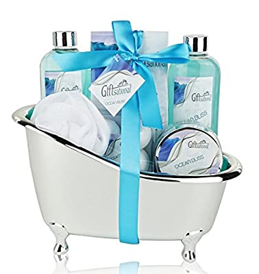 Spa Gift Basket with Refreshing Ocean Bliss Fragrance - Best Wedding, Birthday or Anniversary Gift for Women and Girls - Bath Gift Set Includes Shower Gel, Bubble Bath, Bath Salts Bath Bombs and More!