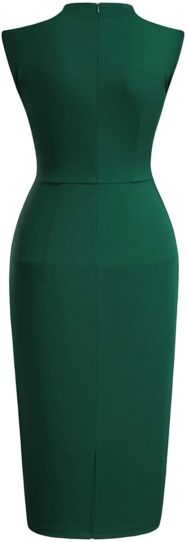 Miusol Womens Retro 1950s Style Half Collar Ruffle Cocktail Pencil Dress