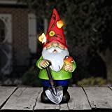 Exhart Solar Light Up Gnome Garden Statue, Solar Powered, Resin, Red Hat, 5'' L x 5'' W x 10'' H