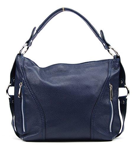 OH MY BAG Sac à Main CUIR femme - Modèle S Bleu Fonce