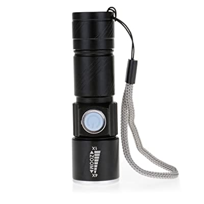 HuntGold Mini Zoomable Alliage d'Aluminium USB Lampe de Poche LED Rechargeable Lampe Torche