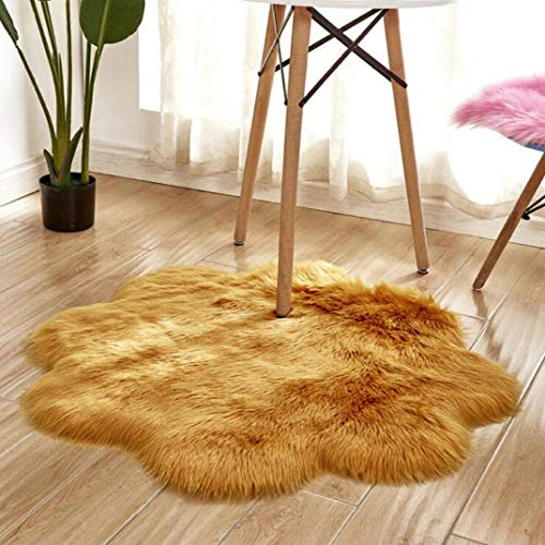 WONNA Faux Fur Sheepskin Area Rug Plain Shaggy Chair Cover Seat Pad Ultra Soft Fluffy Carpet for Bedroom Floor Sofa Living Room Floor Mat - Living Shaggy Rug