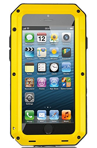 iPhone SE/5S/5 Case, Extreme Hard Military Heavy Aluminum Metal Armor Tank Gorilla Glass Shockproof Rainproof Water Resistant Weatherproof Port Protection Cover Case for iPhone SE/5S/5(Yellow)
