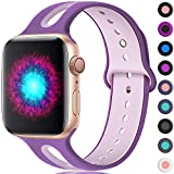 Haveda Sport Bands Compatible for Apple Watch 38mm/40mm, Soft Silicone Wristband for Apple Watch 4, iWatch Series 4 Series3/2/1, Women Men Kids 42mm/44mm S/M Dust Orchid/Plum Fog