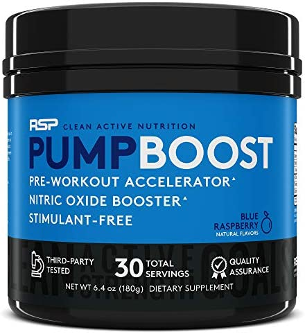RSP Pump Boost – Stimulant Free Pre Workout Nitric Oxide Booster, N.O. Boost for Enhanced Pumps, Energy Boost, and Improved Training Endurance, Blue Rasp Packaging May Vary