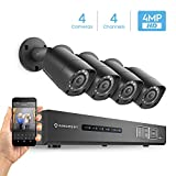Amcrest UltraHD 4MP 4CH Video Security System - Four 4MP Weatherproof IP67 Bullet Cameras, 98ft IR LED Night Vision, Hard Drive Not Included, HD Over Analog/BNC, Smartphone View (Black)