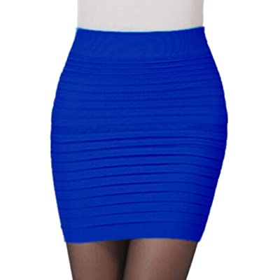 AutumnFall Women's Seamless Bandage Bodycon Mini Knit Basic Stretch Short Pencil Skirt (Blue) at Women's Clothing store