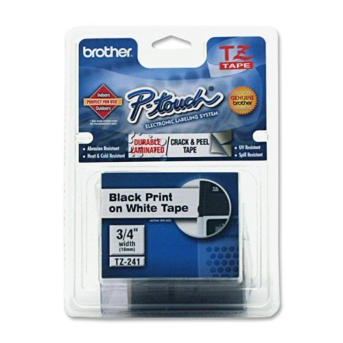 Brother Laminated Tape Black on White, 18mm (TZe241) - Retail Packaging Color: Black on White Portable Consumer Electronics Home Gadget by Portable & Gadgets
