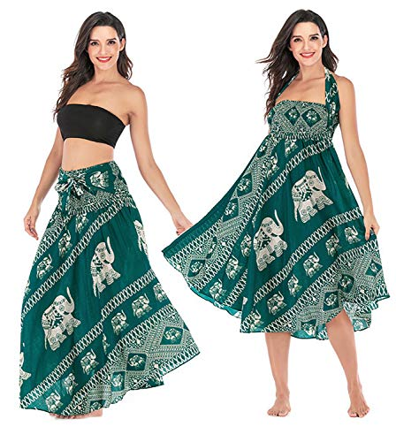 (Salamola Women's Long Hippie Bohemian Skirt Gypsy Dress Bohemian 2 in 1 Printed Beach Dress Skirt Cover Up Female Bikini Wrap (Elephant Green))