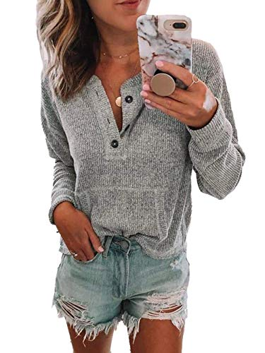 (Famulily Women Cute Button Blouse Long Sleeve Henley Style Knit Ribbed Sweater Tops Pocket Tshirt Grey XL)