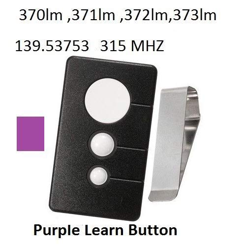 Garage Door Opener Remote Transmitter Control for Sears Craftsman Chamberlain LiftMaster Includes Visor Clip Opener Keyless Entry Keypad Compatible Program 315mhz Control with Purple Learn Button