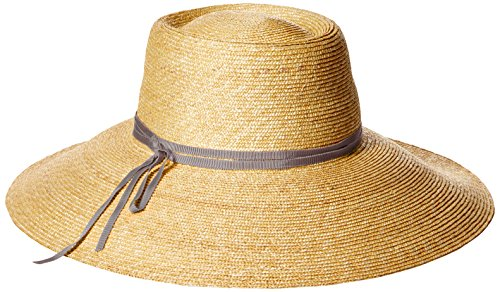 Gottex Women's Capri Fine Milan Sun Hat with Ribbon Trim, Rated UPF 50+ for Max Sun Protection, Natural/Gray, Adjustable Head Size by Gottex