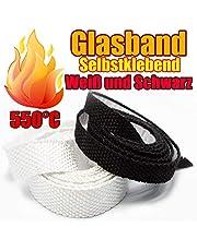 Cinta de cristal para chimenea, aislamiento de horno, autoadhesivo de fibra de vidrio, cinta de sellado sin amianto, resistente al calor hasta 550 °C, muchos tamaños