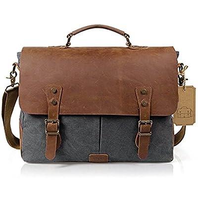 Amyannie Laptop Messenger Bag Grey 14 inch Laptop Messenger Bag Vintage Crazy Horse Leather Canvas Briefcase Computer Satchel