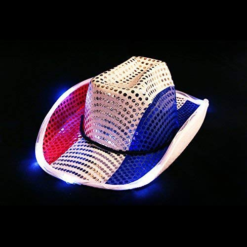 Fun Central BC683, 1 Pc, Red White Blue LED Cowboy Hat, Western Hats, Cowboy Hats for Men and Women, LED Cowboy Hats, Light up Cowboy -