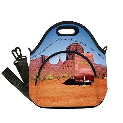 Primitive Country Decor Custom Neoprene Lunch Bag,Abandoned Caravan Monument Valley Arizona Desert Arid Country Decorative for Lunch Trip Travel Work,With Pocket(12.6''L x 6.3''W x - Rug Arizona Basketball