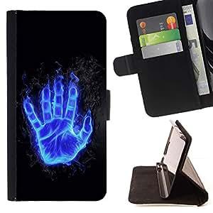 For Sony Xperia Style T3 Case , Flaming azul Mano- la tarjeta de Crédito Slots PU Funda de cuero Monedero caso cubierta de piel