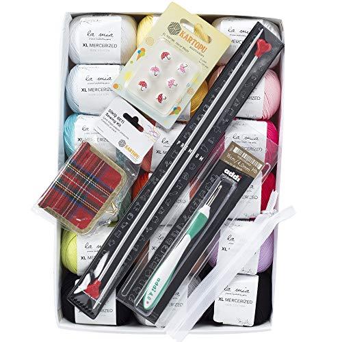 (La Mia XL Mercerized Cotton Gift Set - 18 Skeins of Assorted Colors La Mia Mercerized Cotton Yarn, Each Ball 1.76 Oz (50g) / 103 Yrds (95m), Soft, 4: Worsted-Aran,)