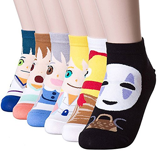 Away Socks - Womens Casual Socks - Cute Crazy Lovely Animal Cat Dogs Anime Character Value Socks Sets, Goods for Gift Idea. (Anime - Chiro 6 Pairs)
