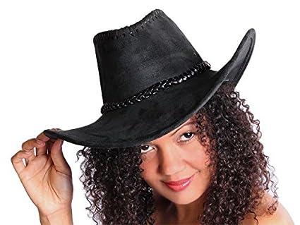 Sombrero de vaquero estilo western Texas Australiano negro (C-32) Unisex de  ante 231c8c6a727