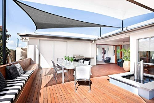 Sunnylaxx Vela de Sombra Triangular 5 x 5 x 7, 1 Metros, toldo Resistente y Transpirable, para Exteriores, jardín, Color Grafito: Amazon.es: Jardín