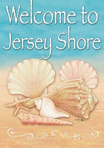 Toland Home Garden Welcome Shell Jersey Shore 12.5 x 18 Inch Decorative Seashell Beach Regional Garden Flag -
