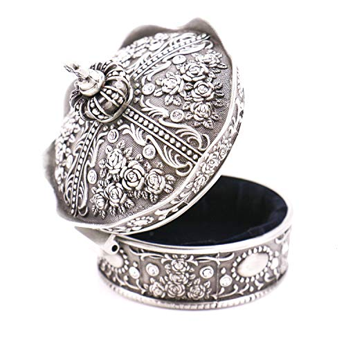 - JETEHO Vintage Antique Silver Rose Flower Sculpture Crown Jewelry Box Organizer Display Case Ring Trinket Box