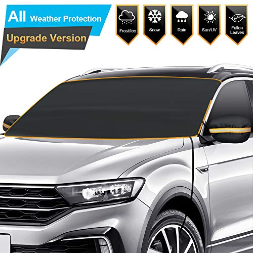 BruRkim Car Windshield Snow Ice Cover for Winter, Sunshade Cover for Summer, Double Side Designed, Waterproof for Ice, Snow, Frost, UV Protection, Large Size Fits for Small Cars, Standar Pickup, SUV