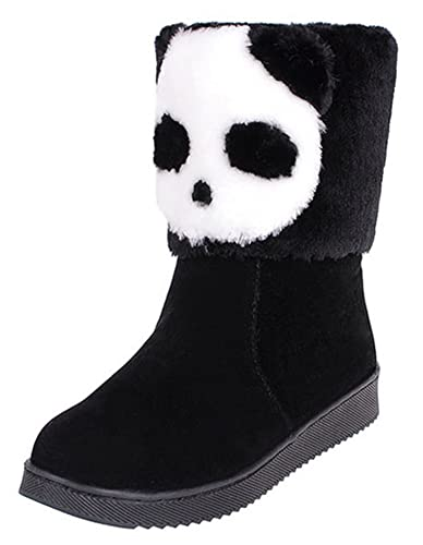 Women's Warm Panda Pattern Flat Winter Boots Fully Fur Lined Ankle Snow Booties