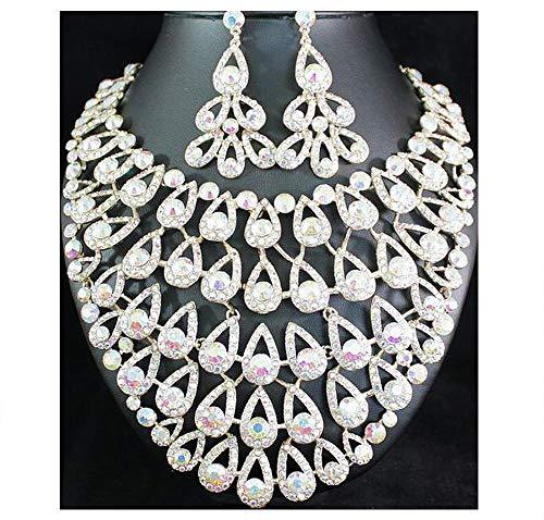 (Janefashions Egyptian Peacock Ab Austrian Rhinestone Bib Necklace Earrings Set Prom N1658ab)