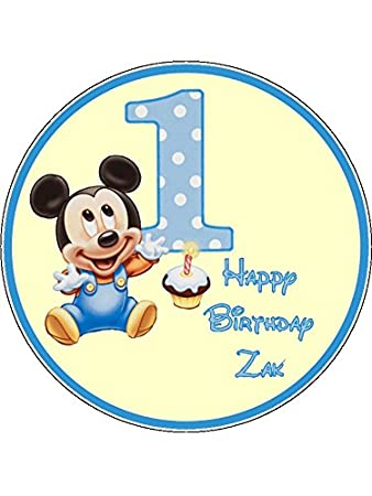 Tortenaufsatz Zum 1 Geburtstag Motiv Mickey Maus 19 Cm Rund Essbar