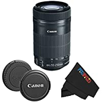 Canon EF-S 55-250mm f/4-5.6 IS STM Lens for Canon SLR Cameras + PixiBytes Cleaning Cloth