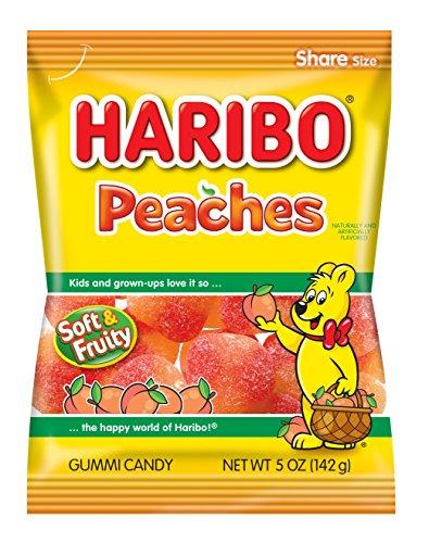 Gummi Peach - Haribo Gummi Candy, Peaches, 5 oz. Bag (Pack of 12)