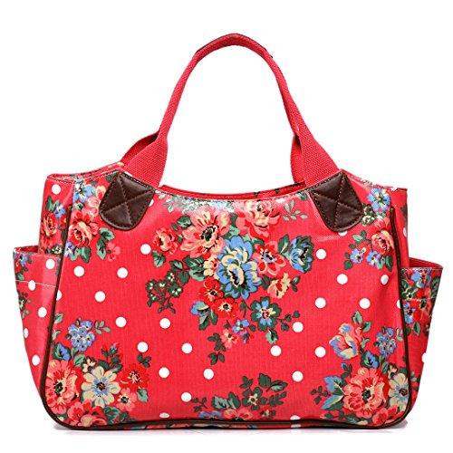 Flower Tote Owl Butterfly Bag Hand Patterns Shopper Flower Plum Day Miss Dots Oilcloth Women Travel Lulu Handbag Polka wP7PvqXnz
