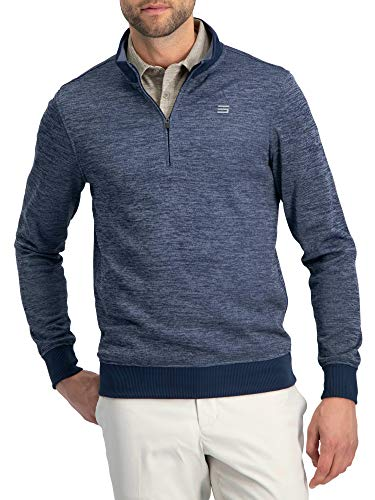 Dry Fit Pullover Sweaters for Men - Quarter Zip Fleece Golf Jacket - Tailored Fit Deep Navy