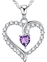 Mothers Day Gifts for Mom Women Love Heart February Birthstone Amethyst Swarovski Necklace Sterling Silver