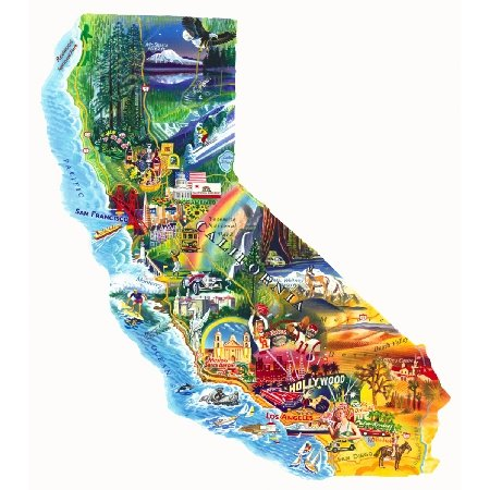 California Shaped Puzzle - Sun & Fun a 1000-Piece Jigsaw Puzzle by Sunsout Inc.