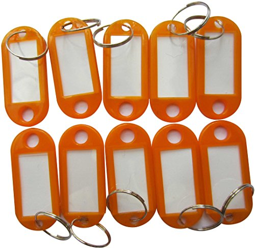 LeBeila Hotel Key Labels Tags - Key Id Identifiers Label Tags for Key Organizer with Split Ring Keyring Keychain 100PCS Set (Orange)