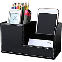 KINGFOM PU Leather Desk Organizer Pen Pencil Holder Business Name Cards Remote Control Holder Black