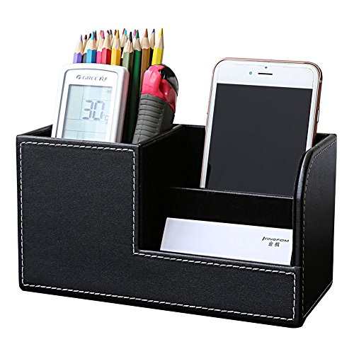 Desk Pen Holder - KINGFOM PU Leather Desk Organizer Pen Pencil Holder Business Name Cards Remote Control Holder Black