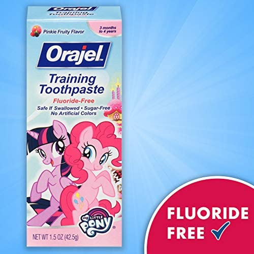 51VDdf7sLXL. AC - Orajel My Little Pony Fluoride-Free Training Toothpaste, Pinky Fruity Flavor, One 1.5oz Tube: Orajel #1 Pediatrician Recommended Brand For Kids Non-Fluoride Toothpaste