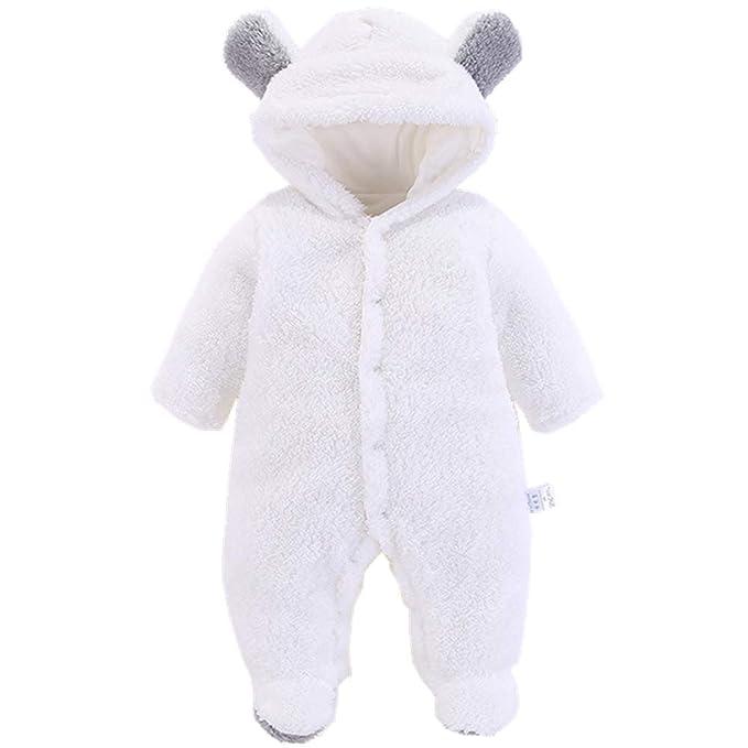 Morbuy Traje de Nieve Bebé, Recién Nacido Espesar Ropa de Invierno Footed Peleles Mameluco con