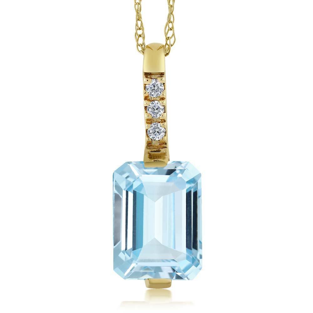 14K Yellow Gold 1.40 Ct Octagon Sky Blue Aquamarine and Diamond Pendant w/ Chain