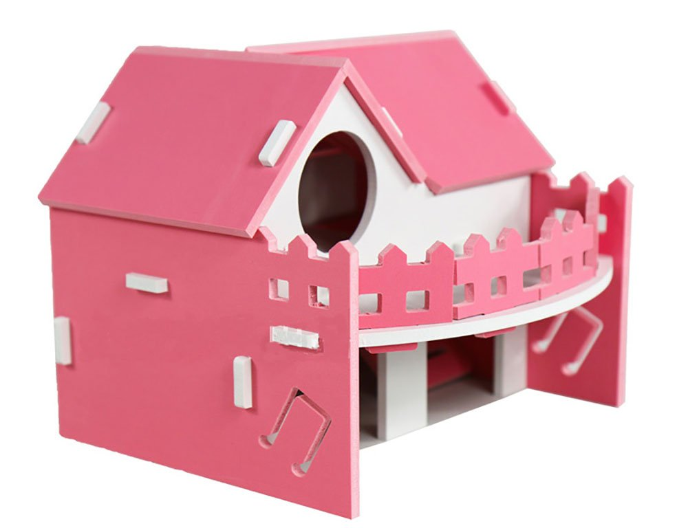 Kathson Small Animal Hideout Hamster House Hamster Cabin,Hamster Cages,Wooden Hut Play Toys for Chinchilla, Rat, Gerbil and Dwarf Hamster (pink)