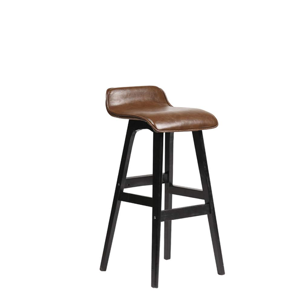 Brown L37.5CMW39.5CMH75CM Floor-Standing high Bracket European Bar Chair Beech Bar Stool Portable High Foot Seat Front Desk Bar Stool Simple High Foot Seat Suitable for Counter Kitchen Breakfast Chairs